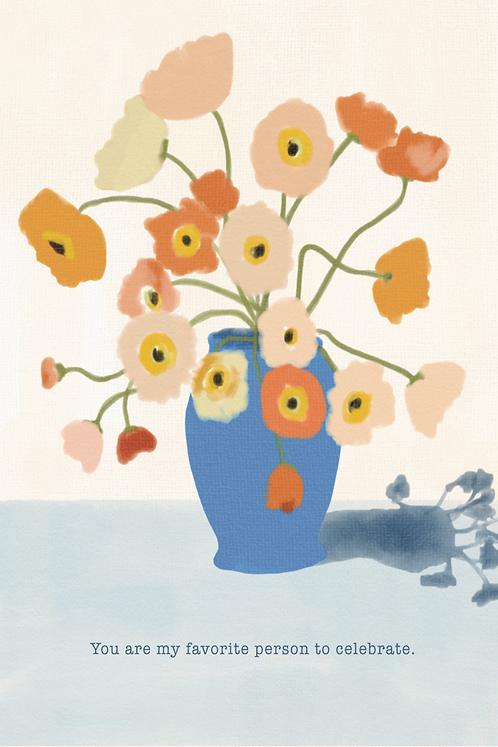 Blue Vase of Posies