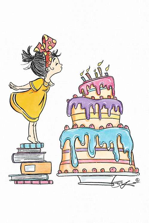Girl with Birthday Candles -Colored version