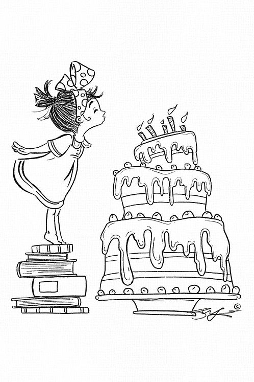 Girl with Birthday Candles - B/W to color in!