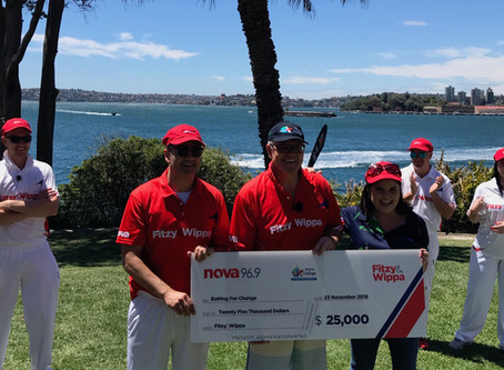 Fitzy, Wippa, and PM Scott Morrison play in backyard cricket match for BFC