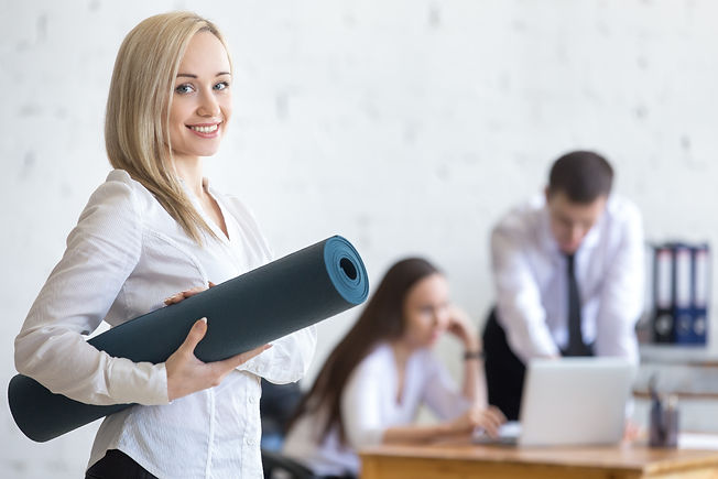 Business and healthy lifestyle concept. Beautiful sporty young office woman finished her w