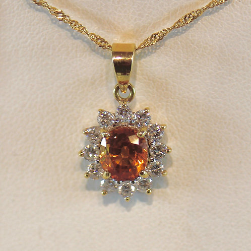 Orange Sapphire and Diamond Pendant Necklace