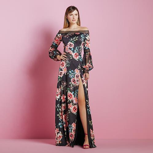 Vestido longo gloss estampa