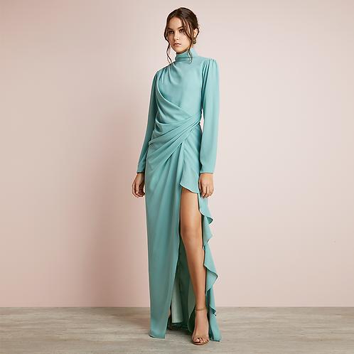 Vestido longo fenda com jabô