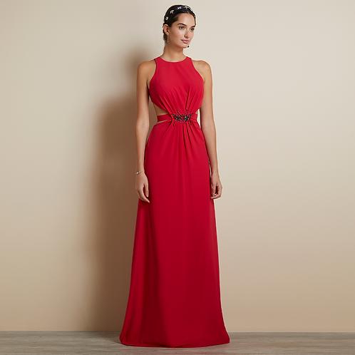 Vestido longo cinto bordado