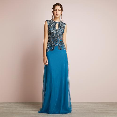 Vestido longo bordado arabesco