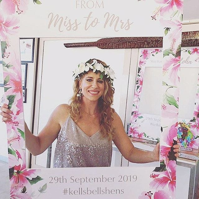 The bride to be in her Hawaiian flower c