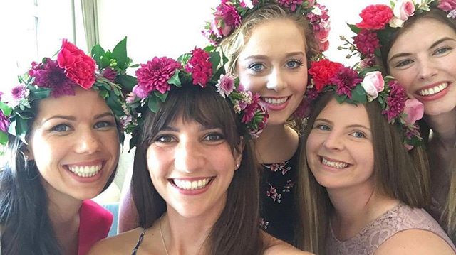 One happy bride tribe at this flower cro