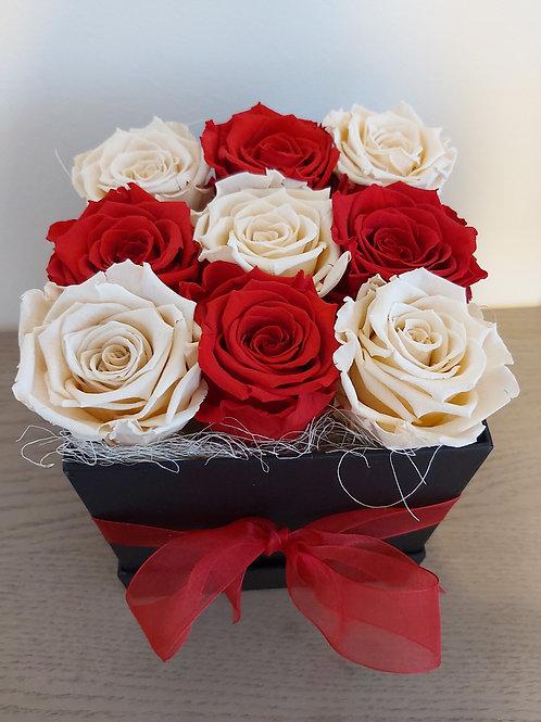 Royal flowerbox met gemixte kleuren long life rozen