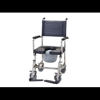 """כסא רחצה ושירותים נירוסטה רוחב 43 ס""""מ מושב PU"""