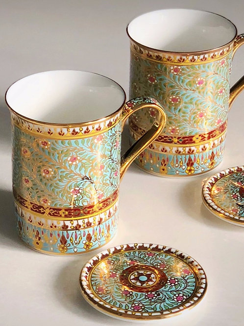 Hand Painted Benjarongs in Silk Box
