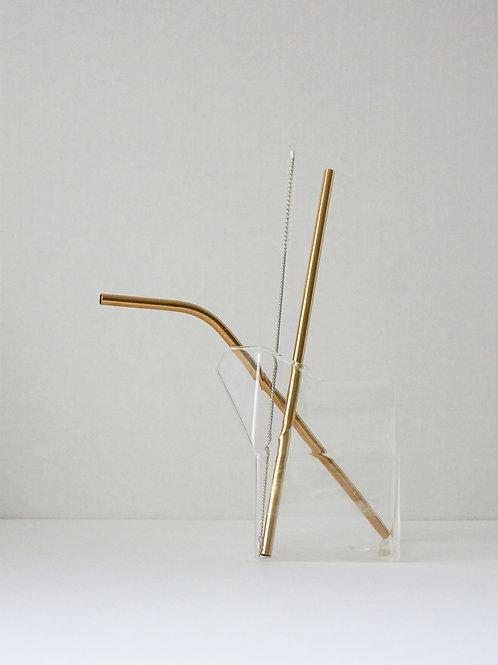 Gold Re-Usable Straw KIT (3pcs)