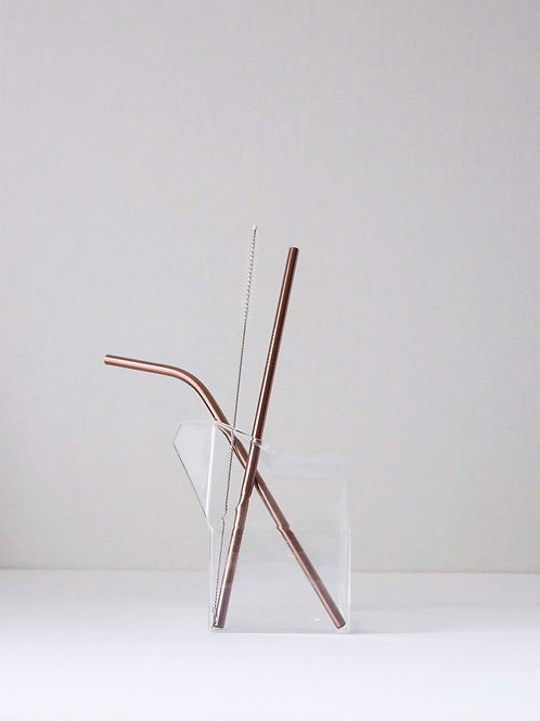 Rose Gold Re-Usable Straw KIT (3pcs)