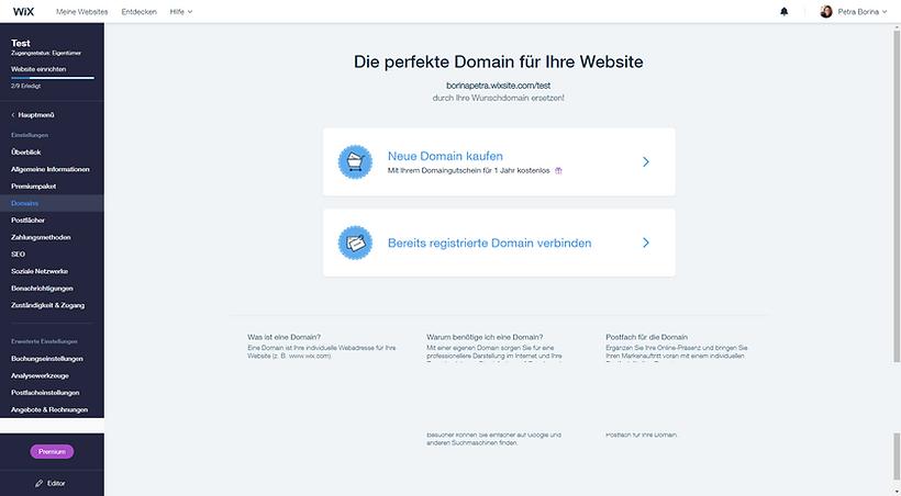 wix domain weiterleitung