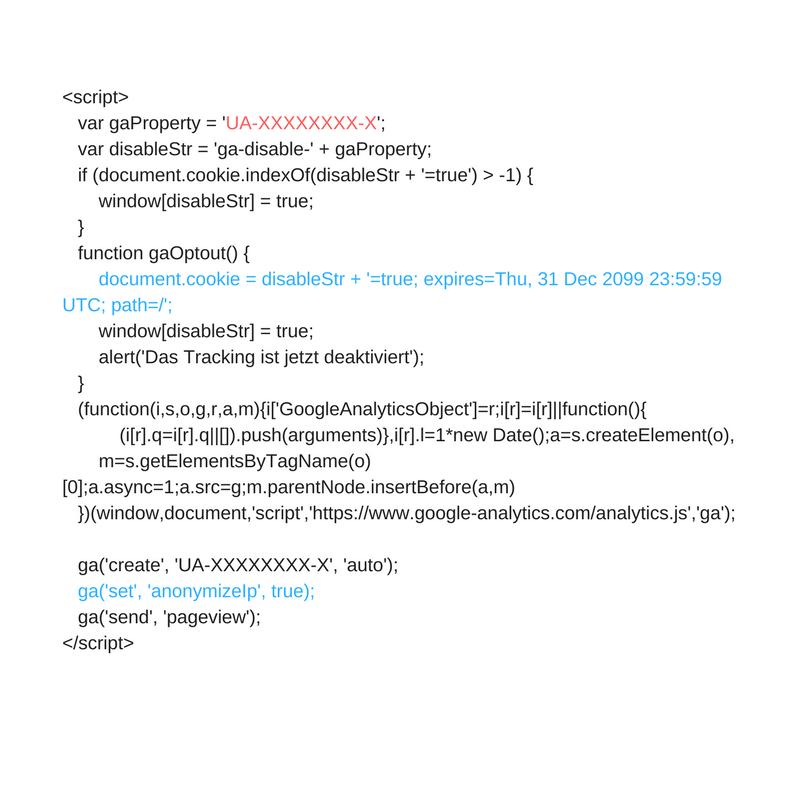 Google Analytics Tracing ID Muster mit IP-Anonymisierung und Opt-Out-Cookie