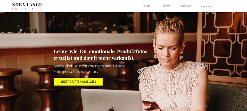 Fotografie Webseite Nora Lange Wix Website beispiel