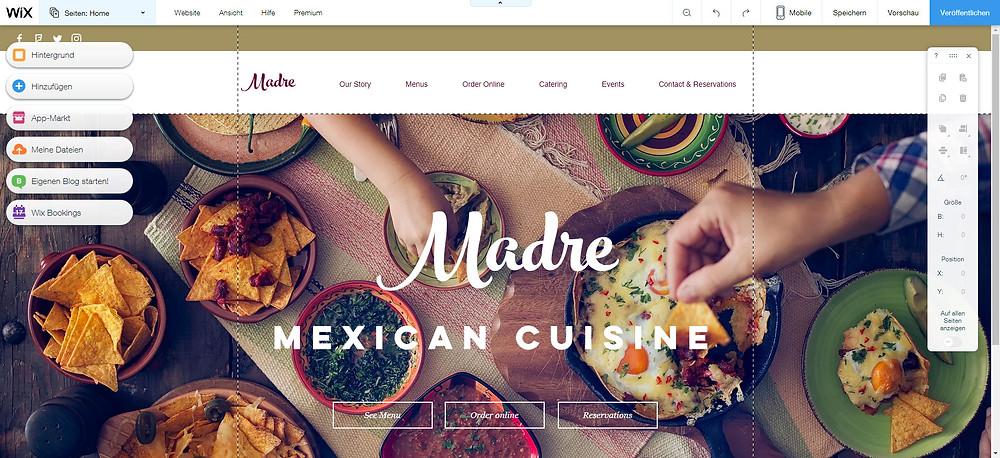 Restaurant Webseite selbst erstellen Vorlage