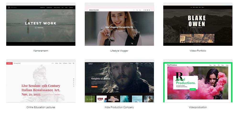 Wix Webseiten Templates mit Wix Video