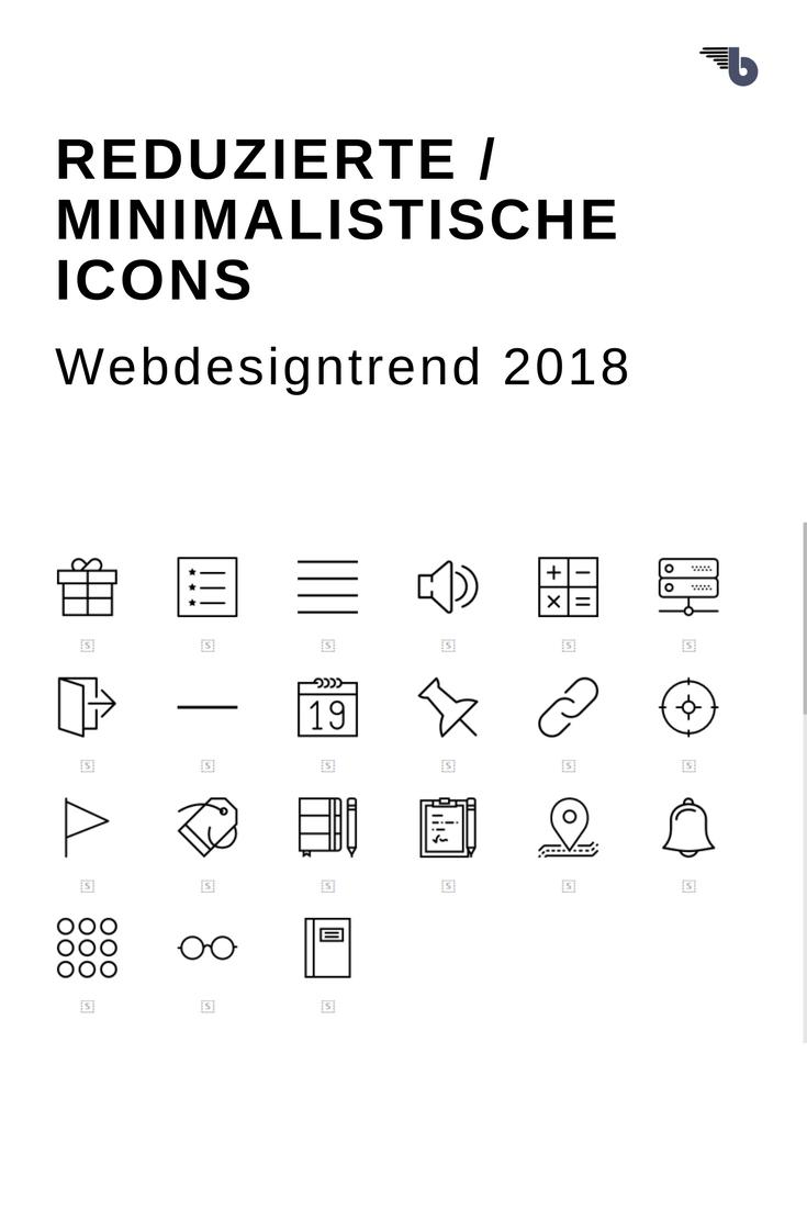 reduzierte, minimalistische Icons webdesigntrend 2018