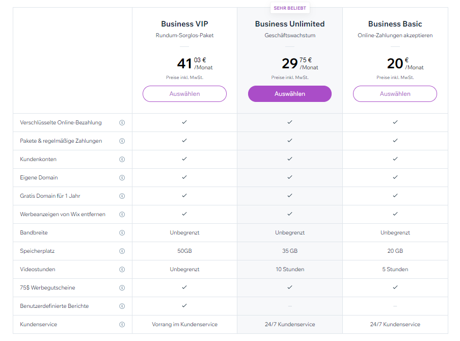 Wix Business Premium Pakete Preise 2021