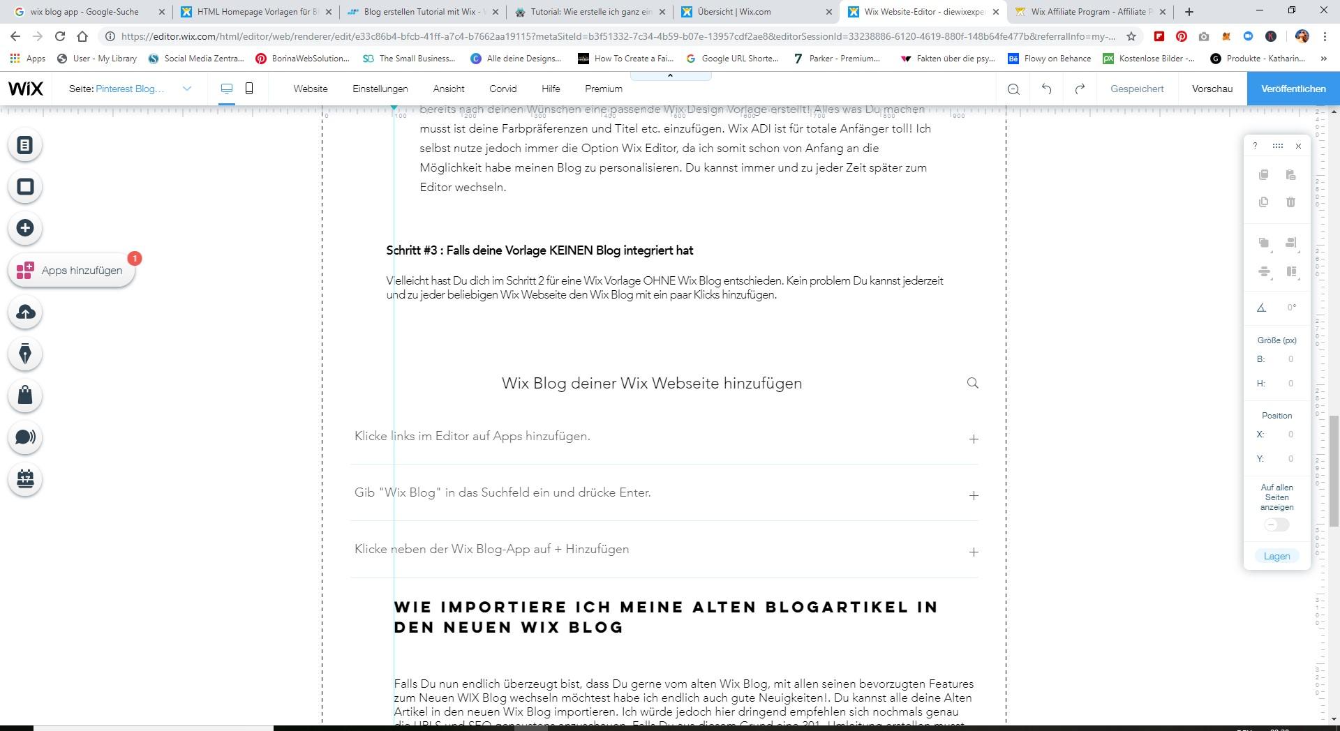 wie füge ich Wix Blog zu meiner Seite
