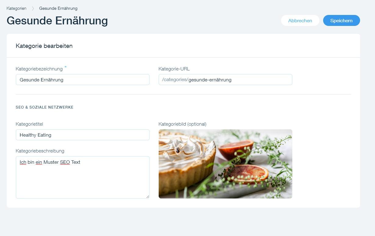 SEO relevante Wix Blog Kategorie Beschreibung