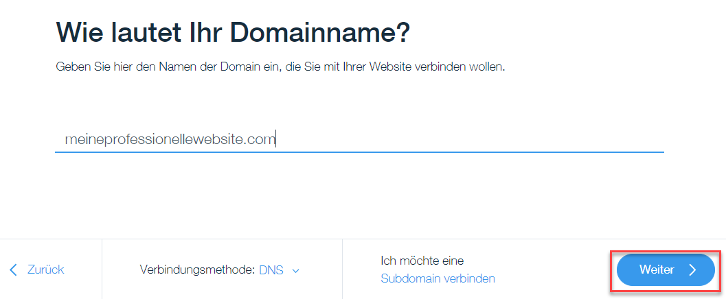 Domainnamen in Wix eingeben und Domainart auswählen