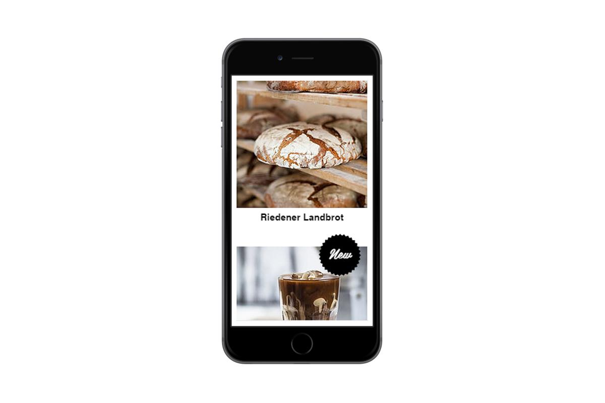 Mobile Ansicht Webseite Bäcker