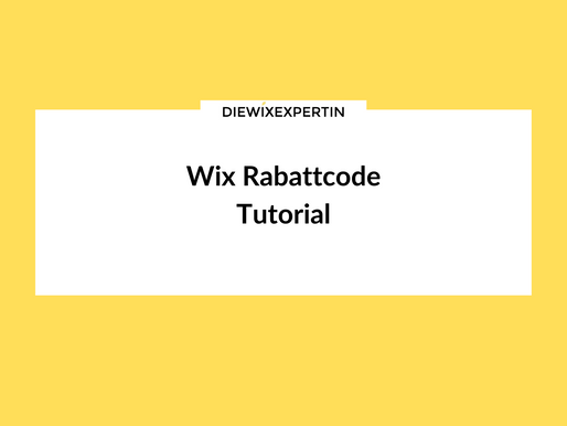 Wix Rabattcode Tutorial