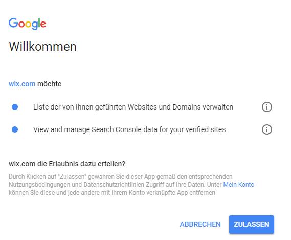 wix mit google search console verbinden.