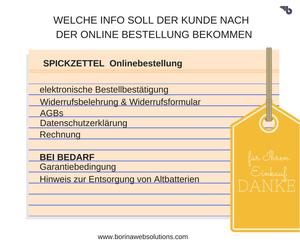Cheatsheet Online Bestellung welche Info