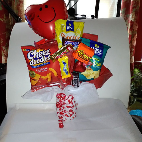 Vase filled with chips