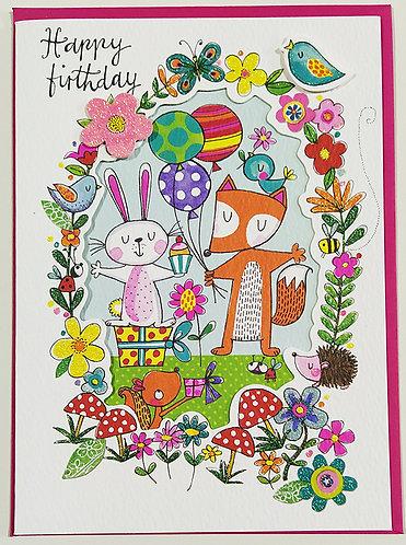 Tarjeta Felicitación Happy Birthday Rachel Ellen Designs - Woodland Creatures