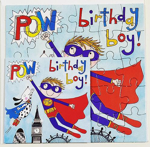 Tarjeta Puzle Rachel Ellen Designs - Happy Birthday Super Heroe