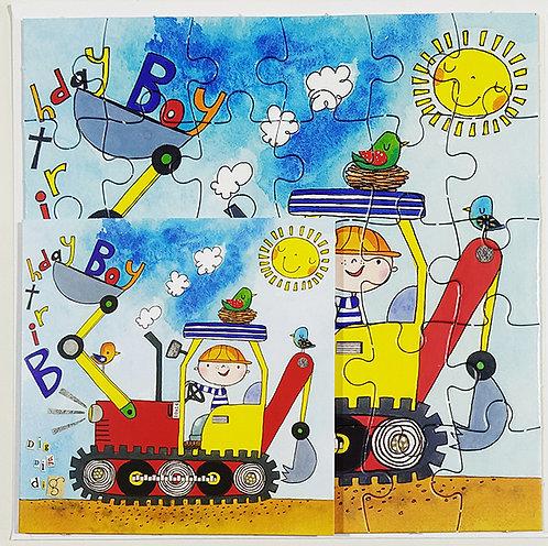 Tarjeta Puzle Rachel Ellen Designs - Happy Birthday Bulldozer