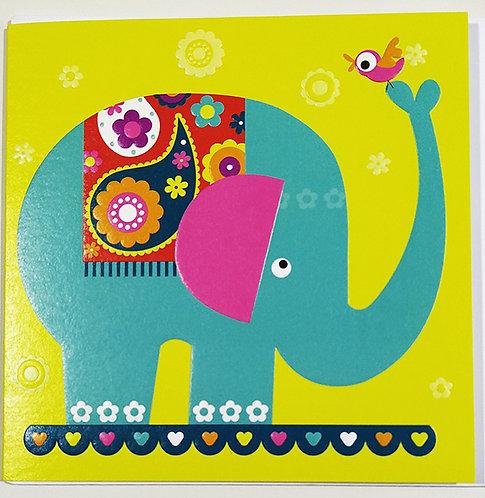 Tarjeta Felicitación Happy Birthday Little Creatures - Hindu Elephant