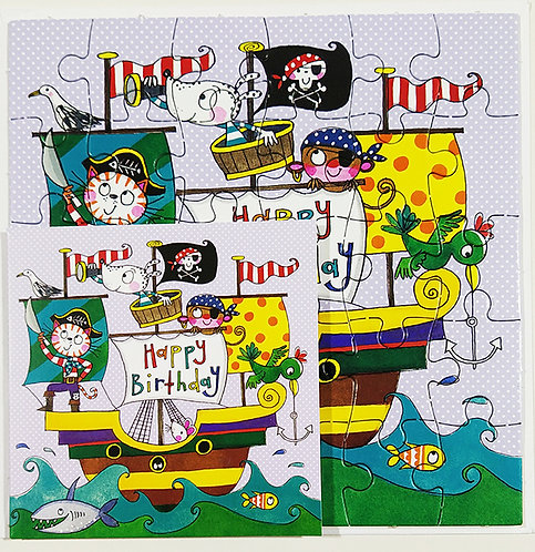 Tarjeta Puzle Rachel Ellen Designs - Happy Birthday Pirate Ship