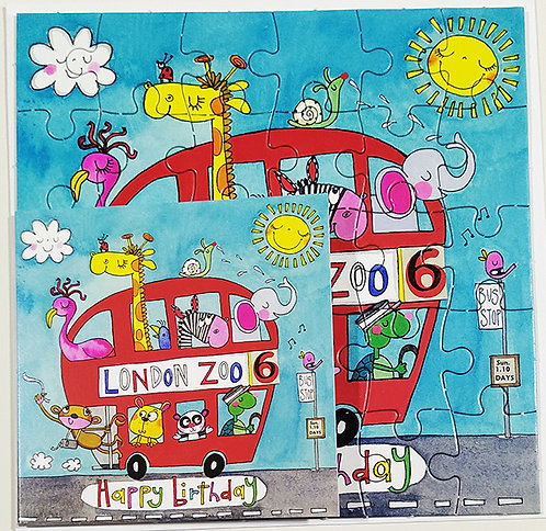 Tarjeta Puzle Rachel Ellen Designs - Happy Birthday London Zoo Bus