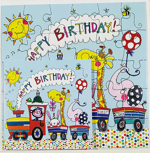 Tarjeta Puzle Rachel Ellen Designs - Happy Birthday Animal Train