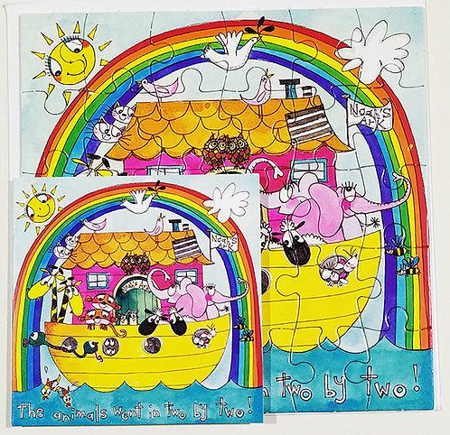 Tarjeta Puzle Rachel Ellen Designs - Happy Birthday Noe's Ark