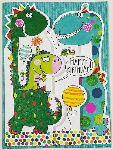 Tarjeta Felicitación Happy Birthday Rachel Ellen Designs - Dinosaurs