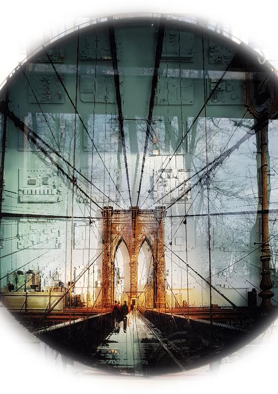 NY brooklyn bridge ROND 2 witte achtergr