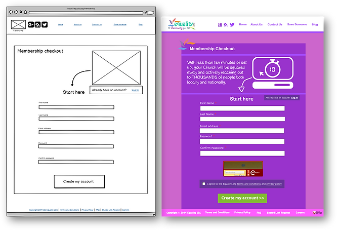 Wireframe and mockup for church finder membership sign up