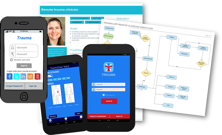 NSW Trauma App - Wireframes, mockups, user personas, user flows