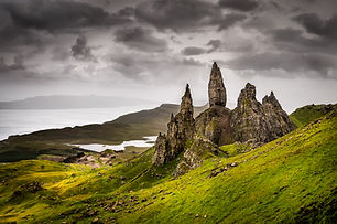 Landscape view of Old Man of Storr rock