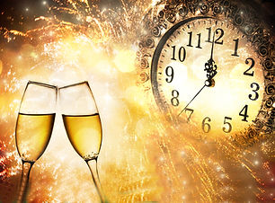 New Years eve clock & Champers web image