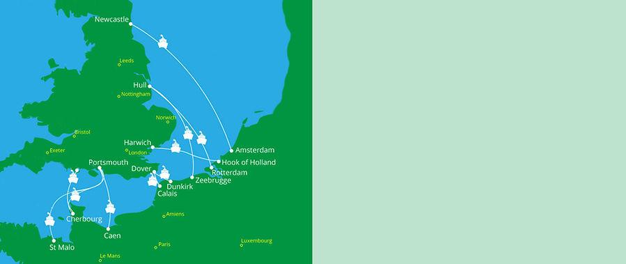 Eurpoe Ferry crossings map itinerary ima