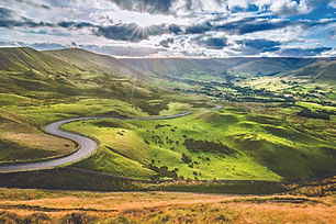 Scenic Serpentine Road in Peak District