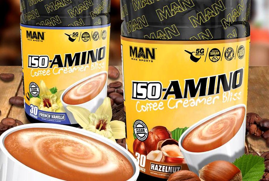 man sports coffee creamer