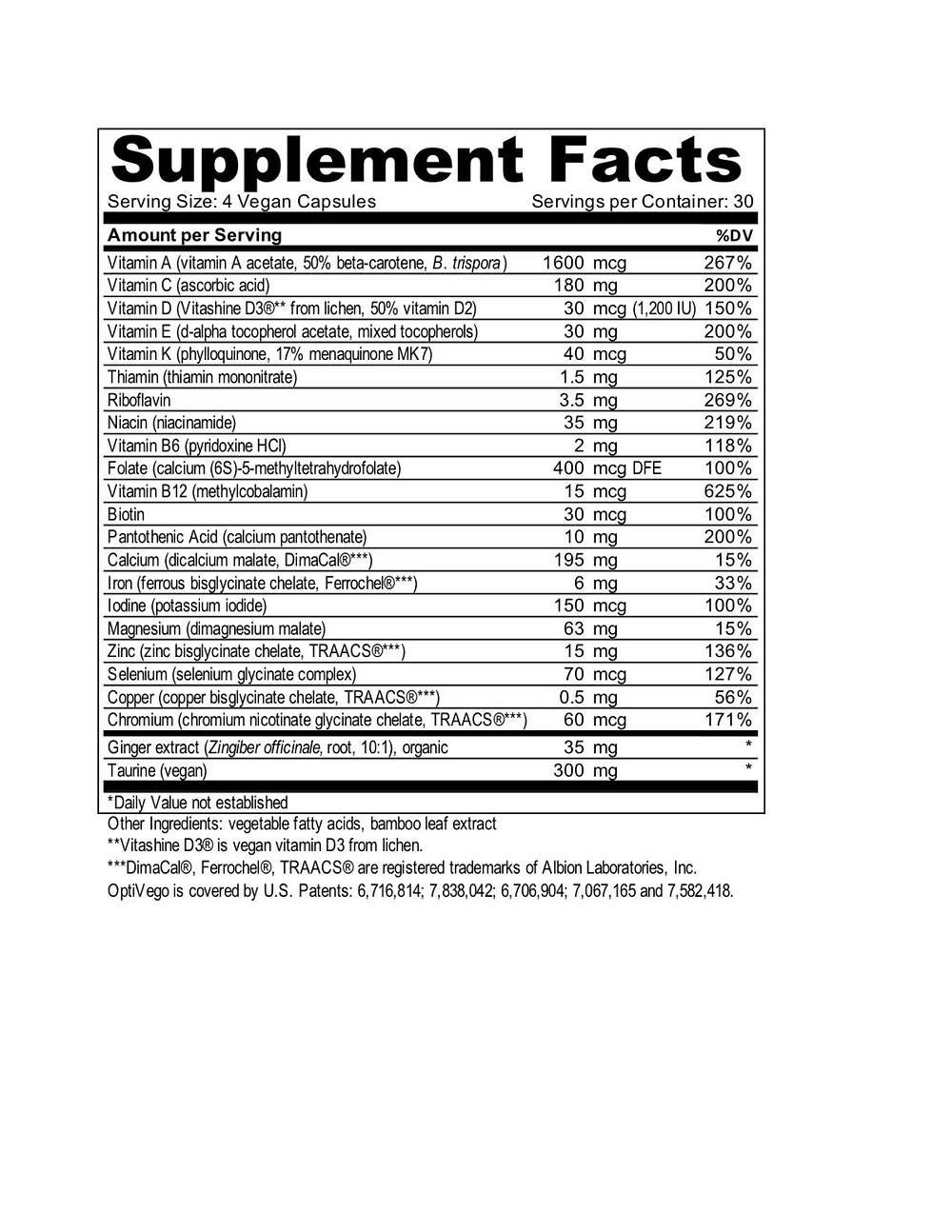 optivego vegan vegetarian multivitamin & mineral